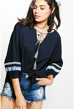 Bailey Tie Neck Trim Sleeve Blouse