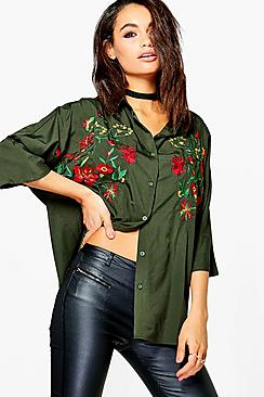 Stella Embroidered 3/4 Sleeve Shirt
