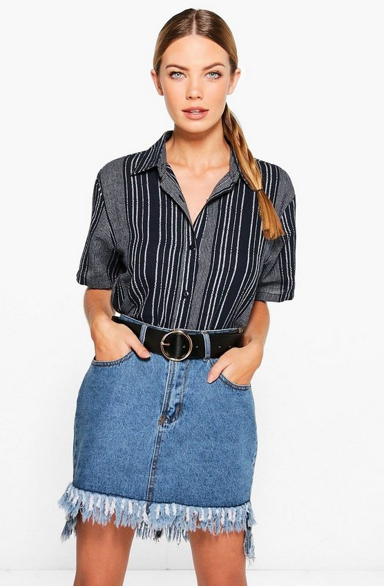 Zoey Striped Short Sleeve Boxy Shirt