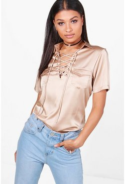 Wendy Satin Pocket Lace Up Shirt