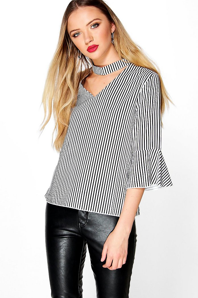Hayley Frill Sleeve Striped Choker Blouse