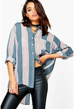 Sarah Striped Split Back Shirt