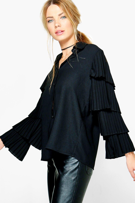 Ruffle Tiered Sleeve Shirt  black