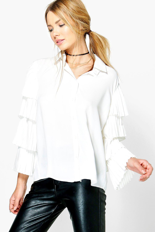 Ruffle Tiered Sleeve Shirt  white