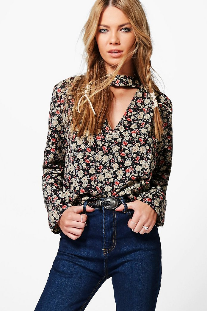 Cora Ditsy Floral Choker Blouse