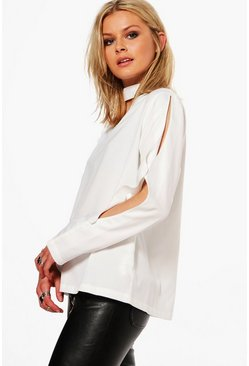Callie Split Sleeve Choker Blouse