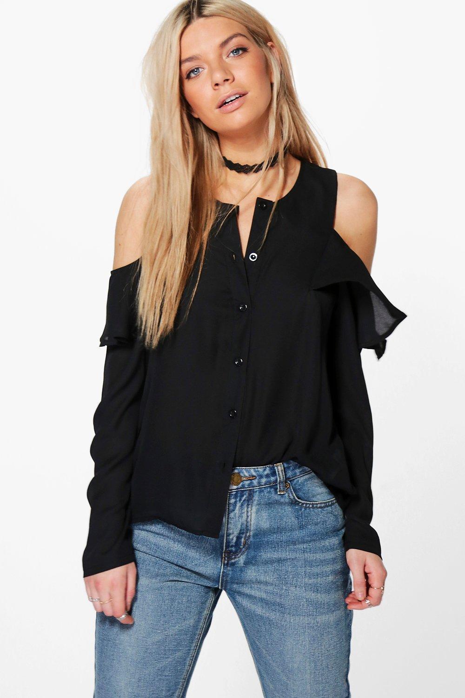 Samantha Cold Shoulder Ruffle Shirt