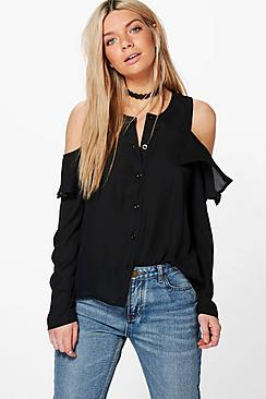 Samantha Cold Shoulder Ruffle Shirt