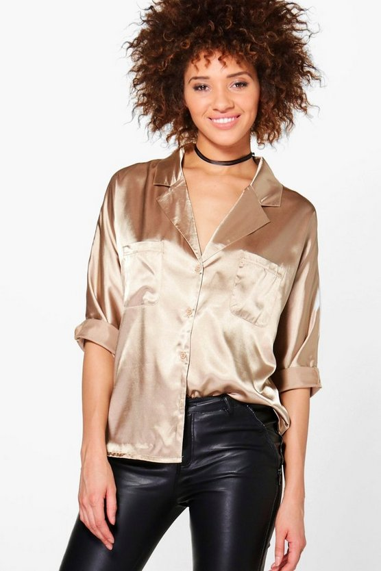 Taylor Revere Collar Satin Long Sleeved Shirt