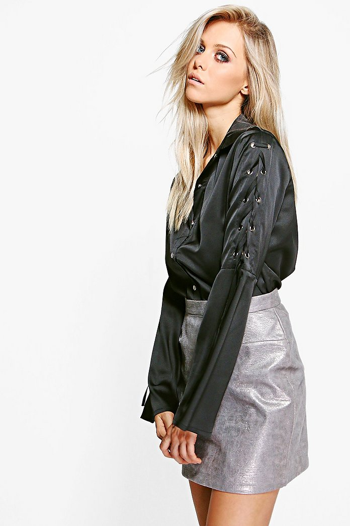 Mollie Lace Up Sleeve Satin Shirt