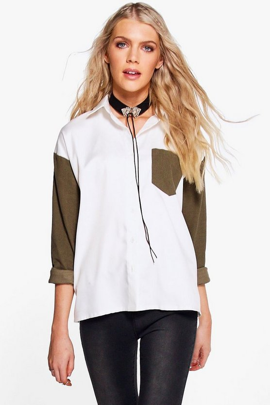 Charlie Contrast Cord Sleeve Shirt