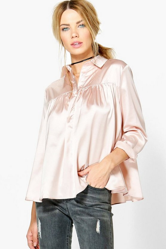 Eliana Satin Long Sleeve Blouse