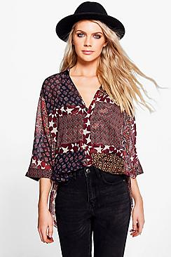 Nadia Mixed Print Wrapover Shirt