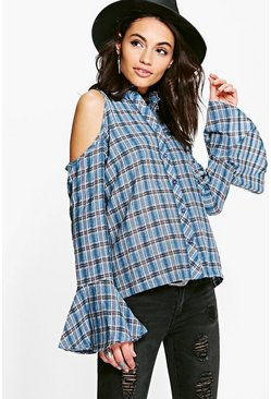 Annabel Flute Sleeve Cold Shoulder Check Shirt