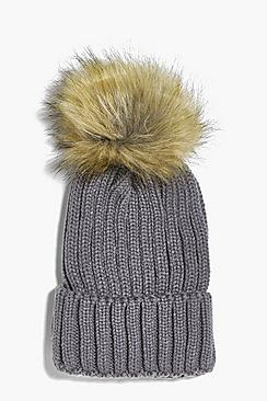 Emma Detachable Faux Fur Pom Beanie Hat