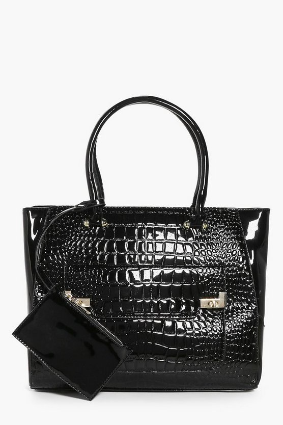 Isabel Mock Croc Patent Tote With Coin Purse