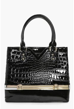 Evelyn Mock Croc Patent Compartment Bag