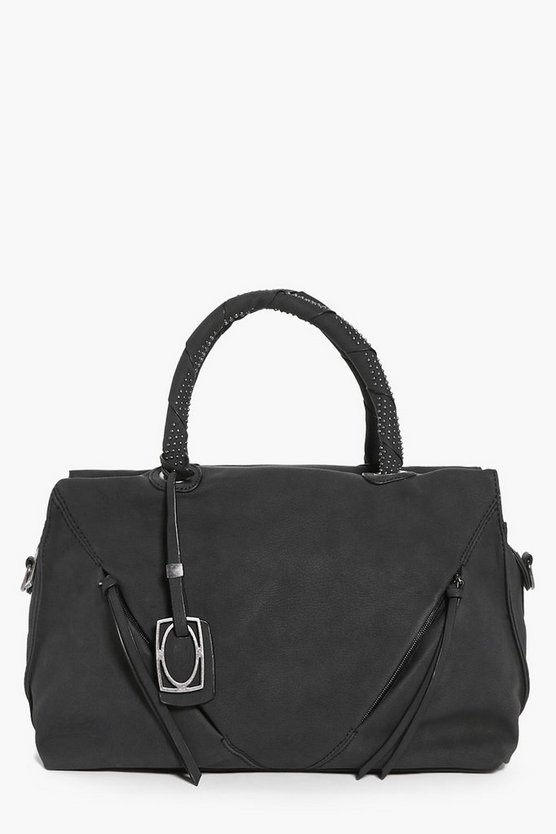 Faith Stud Handle Zip Front Bowler Bag