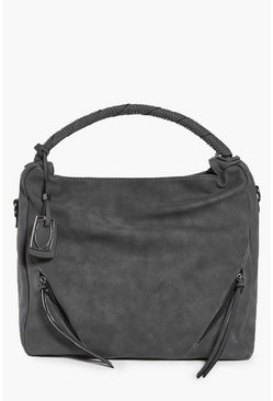 Eliza Studded Handle Zip Front Tote Bag