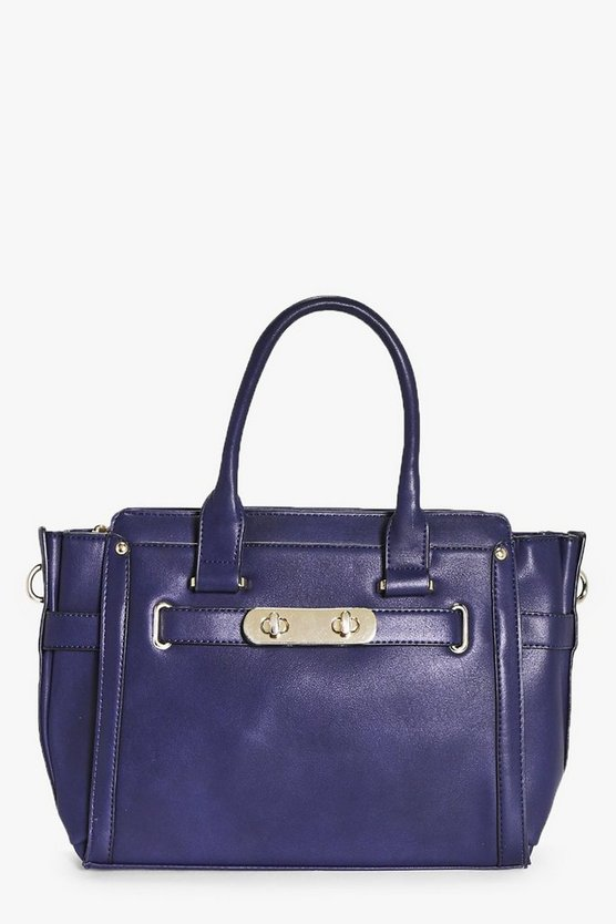 Leah Double Turn Lock Detail Winged Day Bag