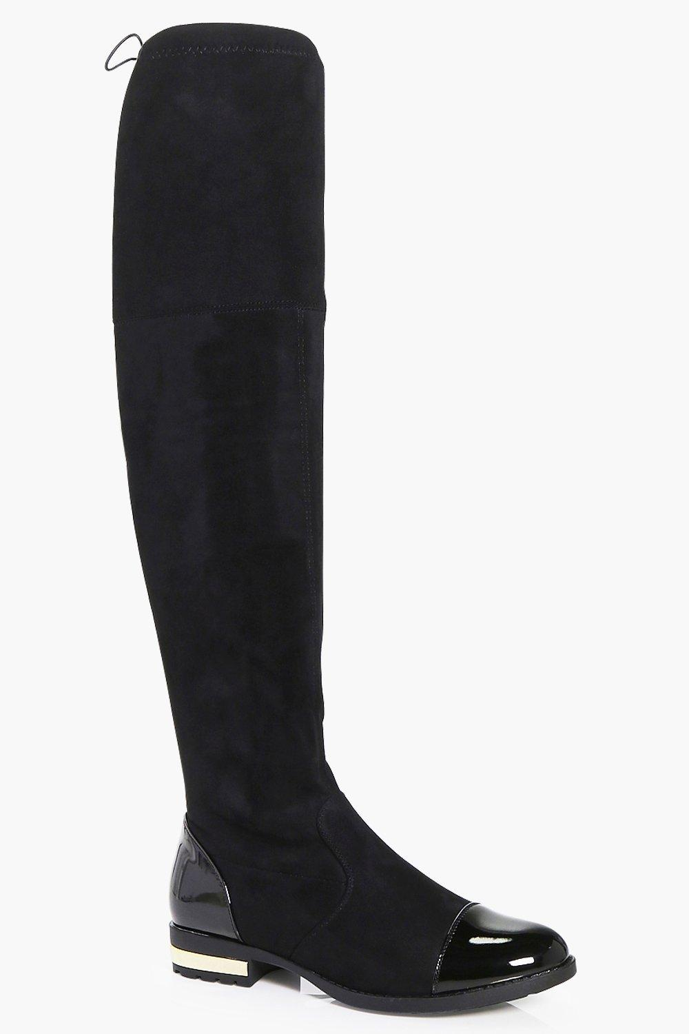 Madison Gold Trim Over The Knee Boot
