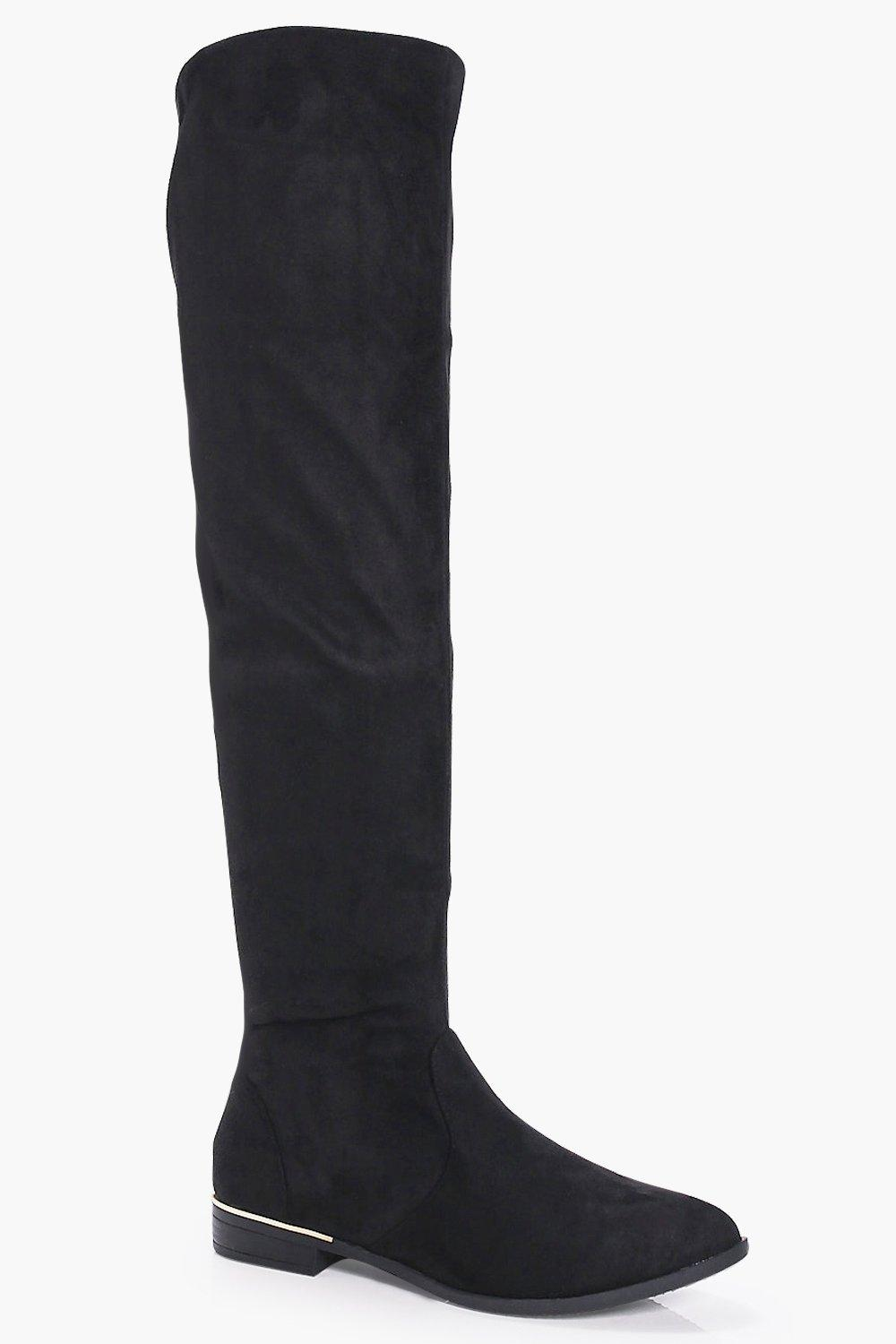 Sarah Gold Trim Knee High Boot
