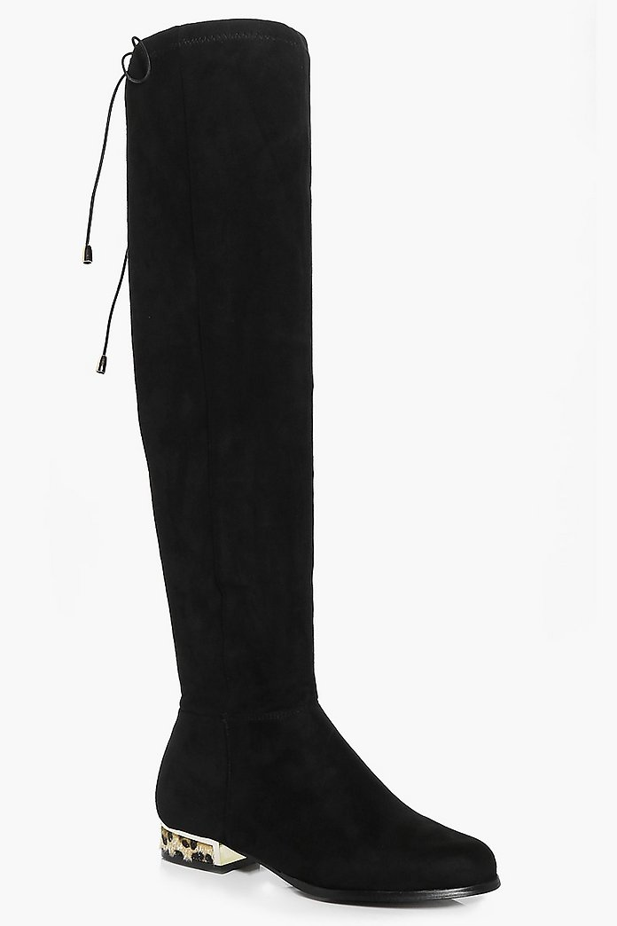 Tia Interest Heel Flat Over The Knee Boot
