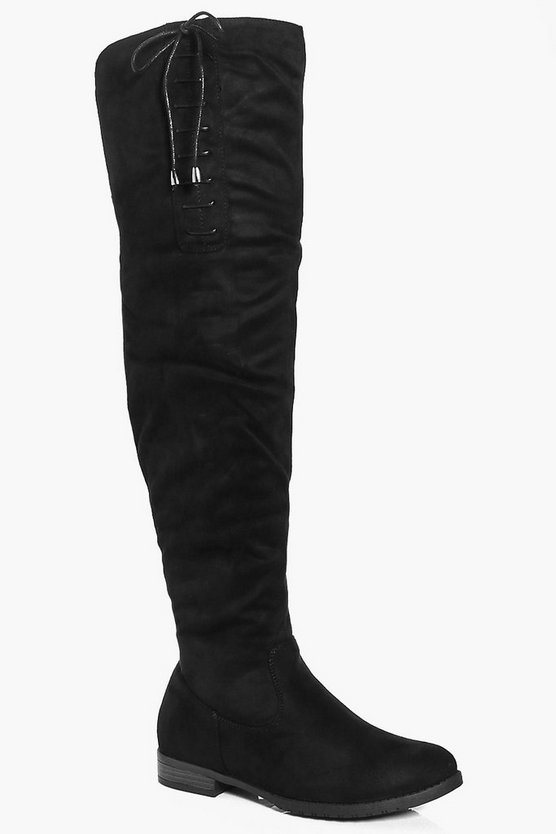 Kayla Lace Side Over The Knee Boot
