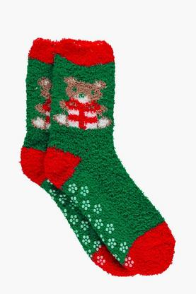 Poppy Christmas Bear Slipper Socks