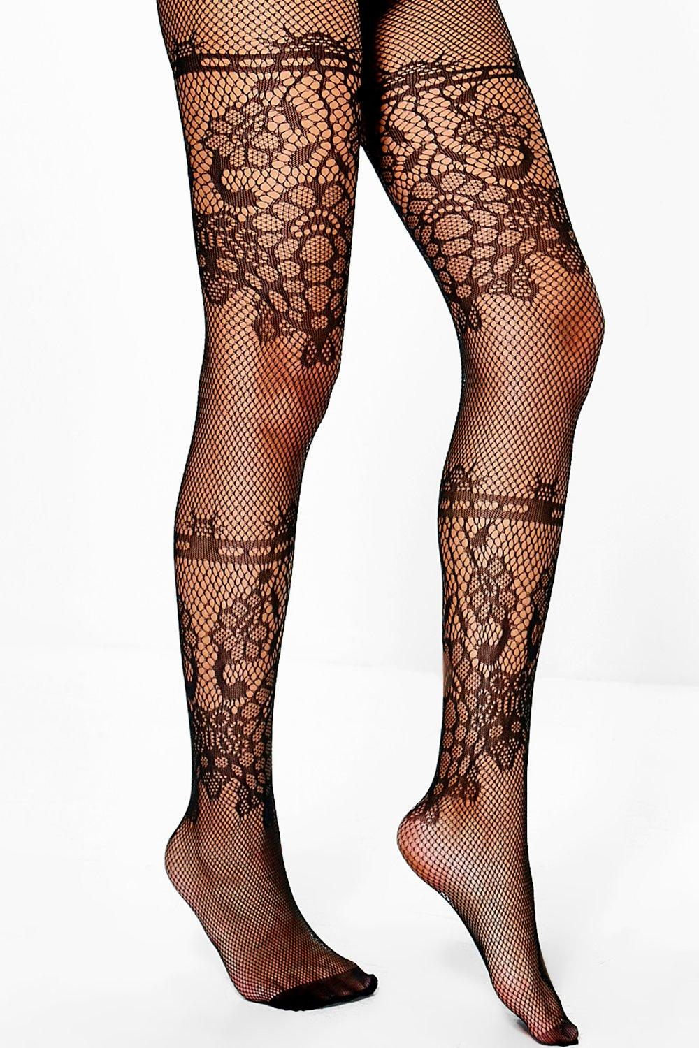 Isabelle Double Lace Panel Fishnet Tights