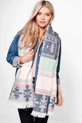 Megan Fairisle Colour Block Heavyweight Scarf