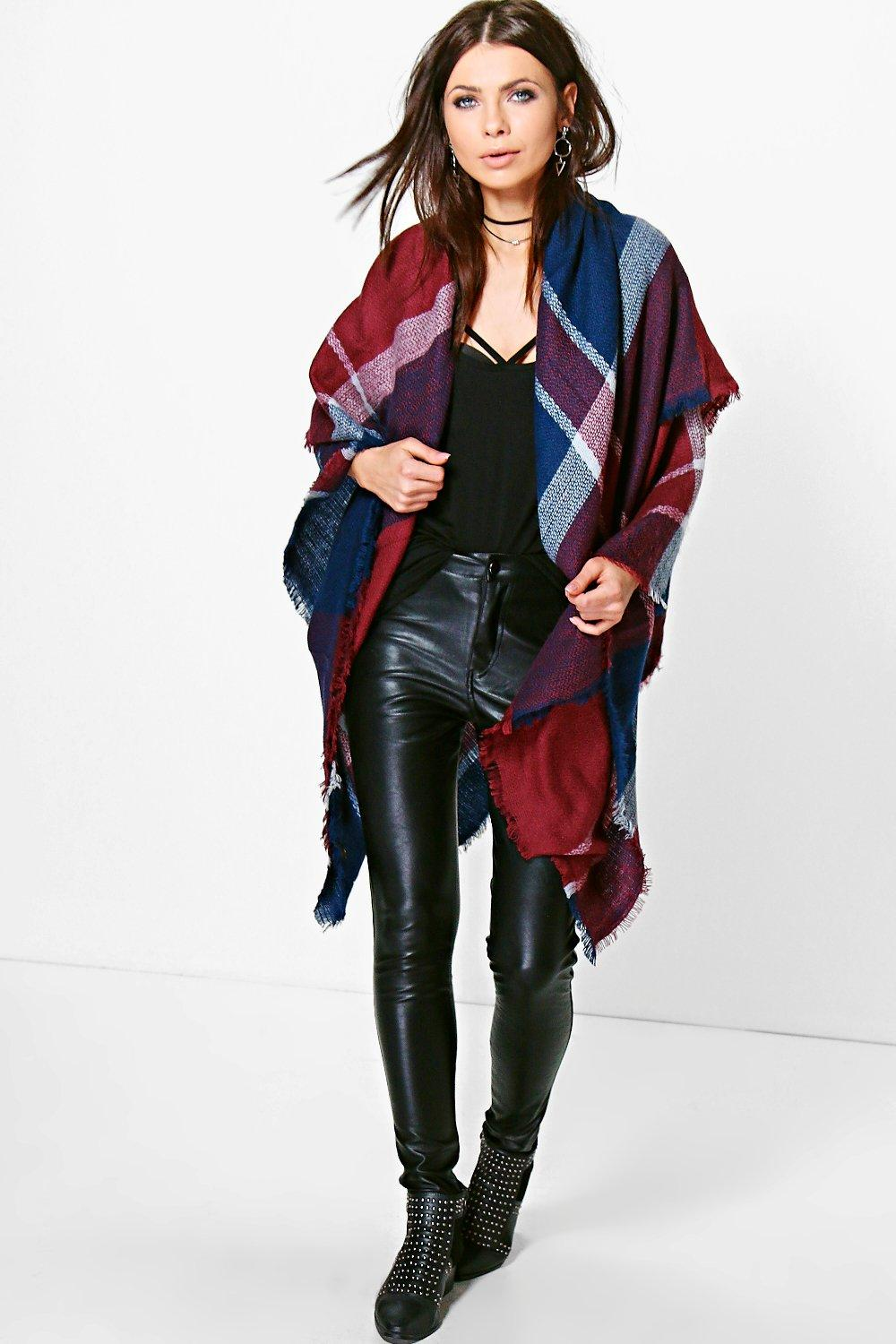 Holly Oversize Tartan Check Cape