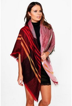 Scarlett Line Check Cape Wrap