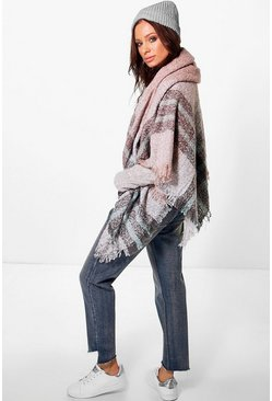 Abigail Faded Check Cape