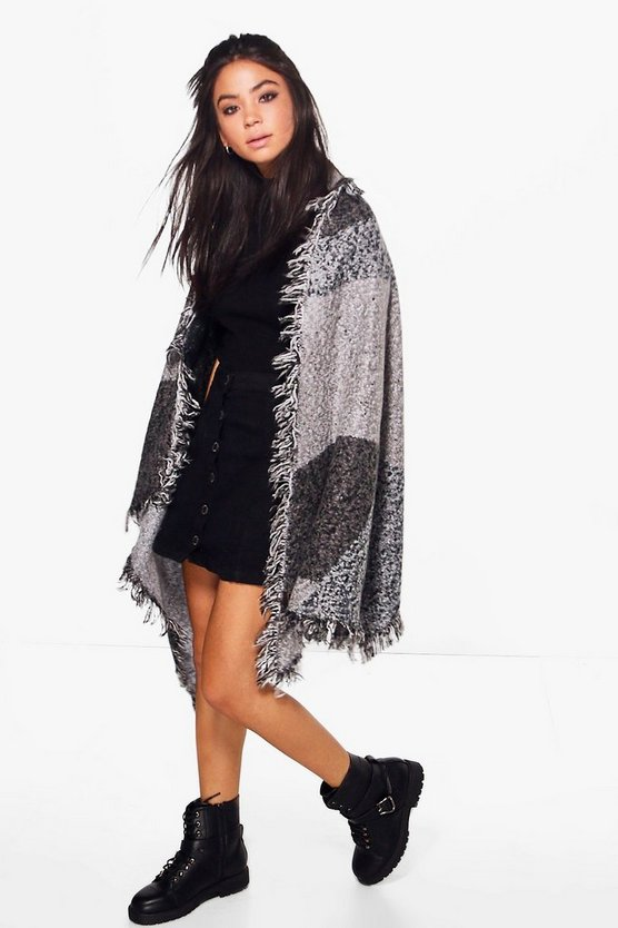 Alice Colour Block Fringed Cape