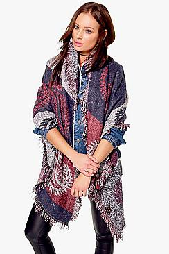 Millie Paisley Print Fringed Cape