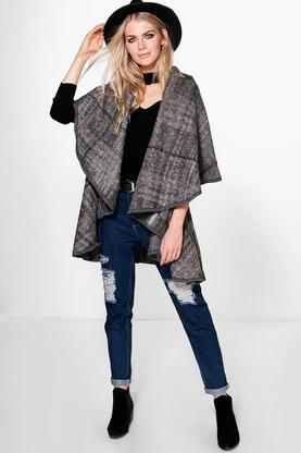 Elizabeth Check Sleeveless Gilet Cape