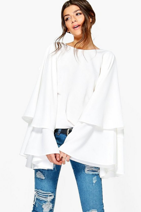 Grace Exaggerated Tiered Sleeve V Back Top