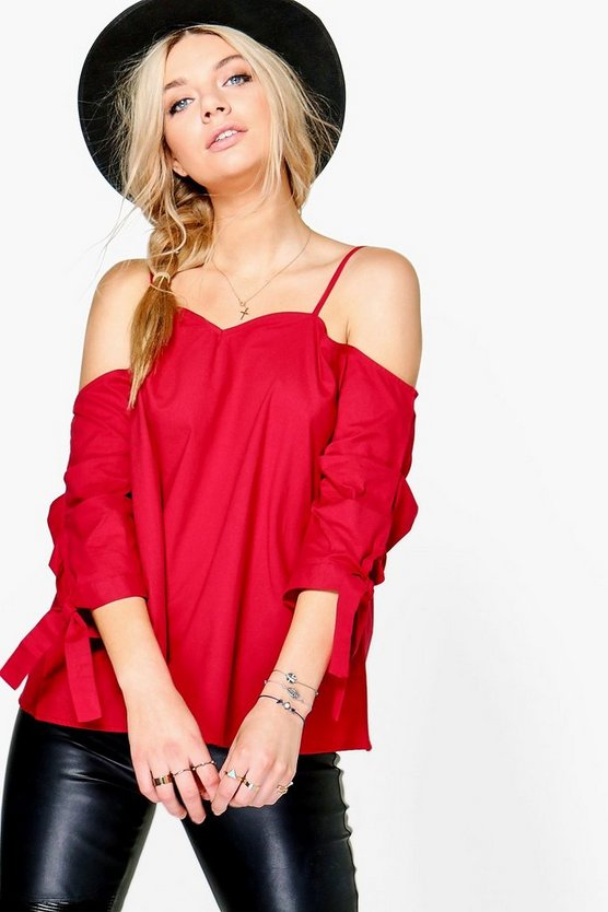 Ava Cold Shoulder Ruched Sleeve Top