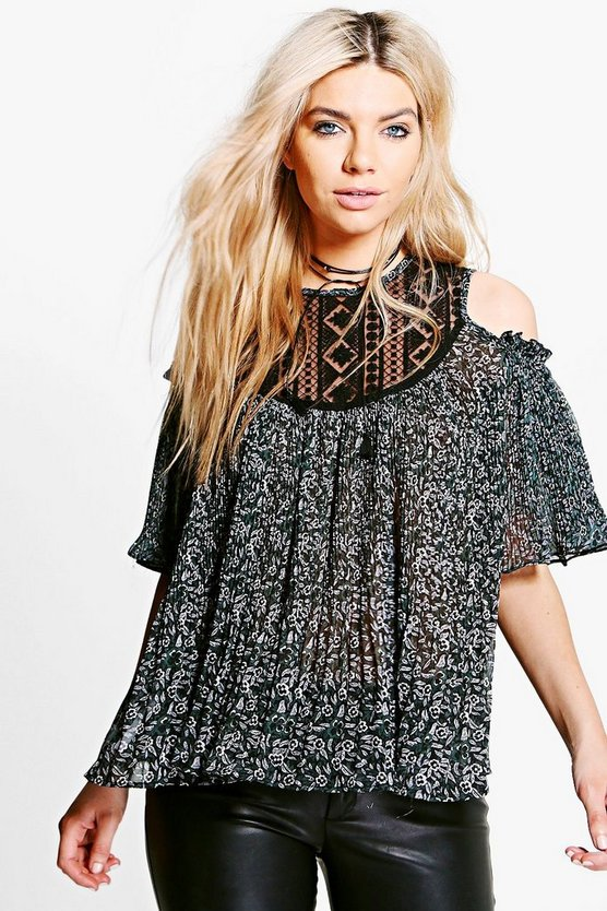 Scarlett Lace Insert Floral Pleated Top