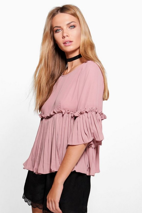 Ruffle Pleated Woven Top