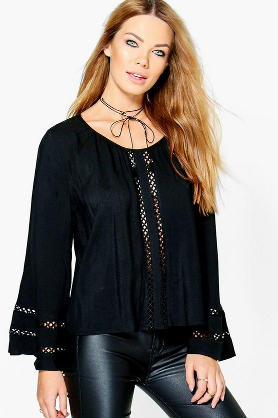 Imogen Crochet Ladder Detail Blouse