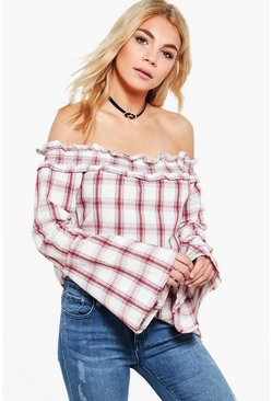 Charlie Checked Bardot Top