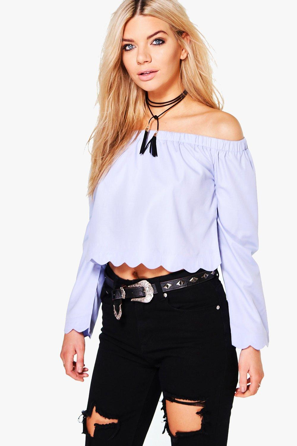 Stacey Scallop Edge Bardot Top