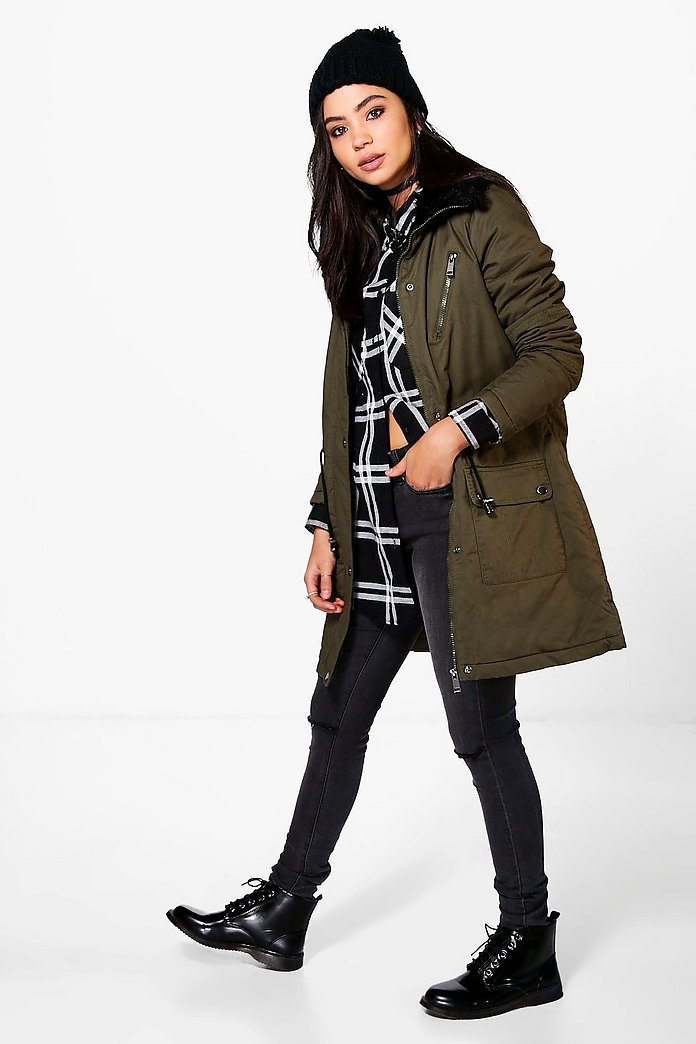 Ella Twill Parka With Chunky Faux Fur Trim