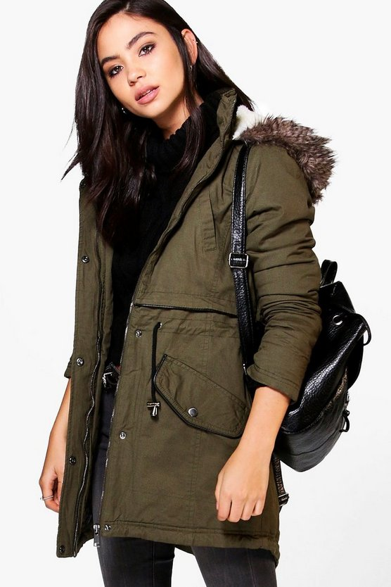Vanessa Parka With Faux Fur Trim Hood