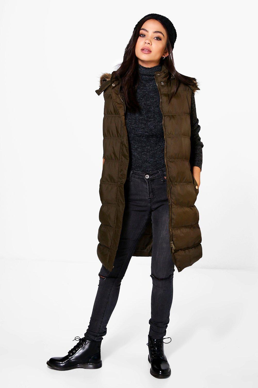 Sleeveless Padded Jacket With Zip Off Hood  khaki