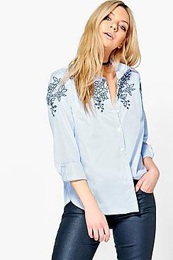 Kaitlyn Embroidered Striped Shirt