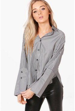 Ellie Striped Contrast Cuff Shirt
