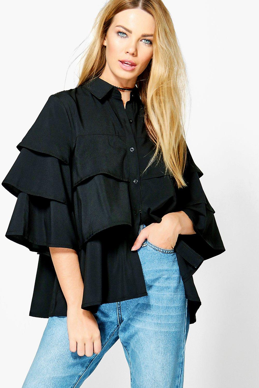 Ruffle Tiered Shirt  black